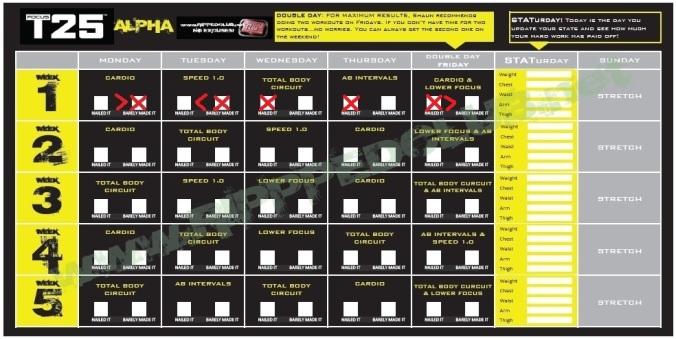 Focus T25 Alpha Phase Calendar - Day 5