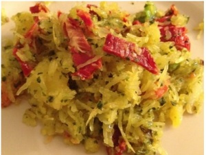 spaghetti squash with Pesto & Sundried Tomatoes