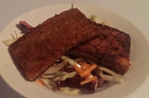 Tempeh over coleslaw